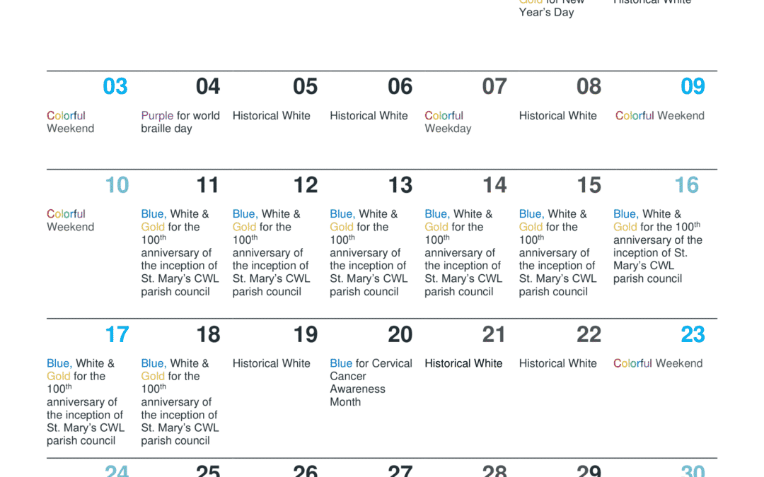 January 2021 Bridge Lighting Schedule