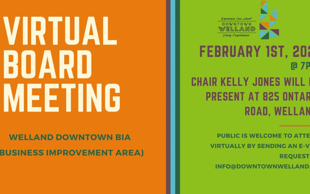 Upcoming Board Meeting February 2021